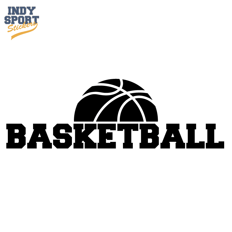 Half Basketball Silhouette With Text Below Indy Sport Stickers