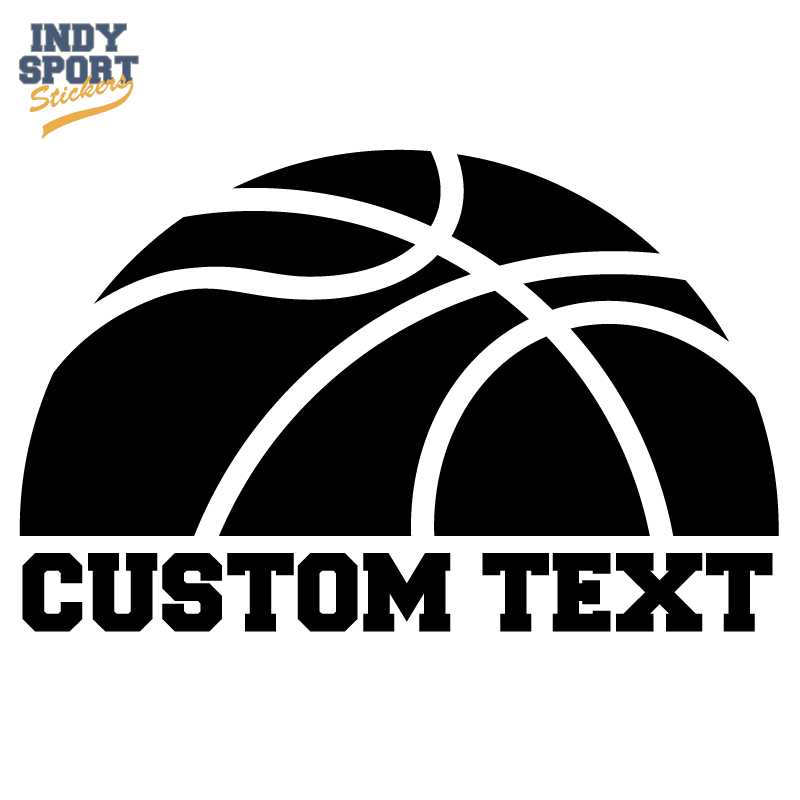 Half Basketball Silhouette with Text Below - Indy Sport Stickers & Decals