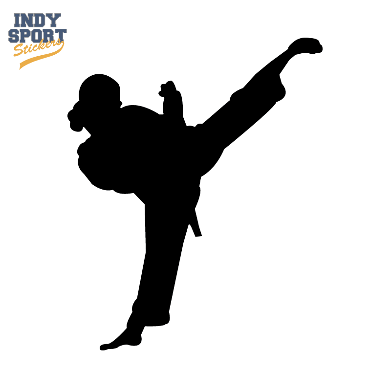 Martial Arts Karate Female Girl Kicking Silhouette Indy Sport Stickers