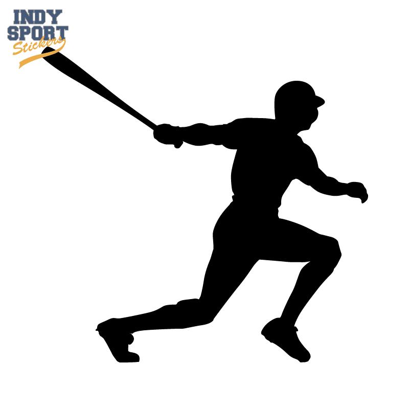 Baseball Player With Bat Swinging Silhouette Car