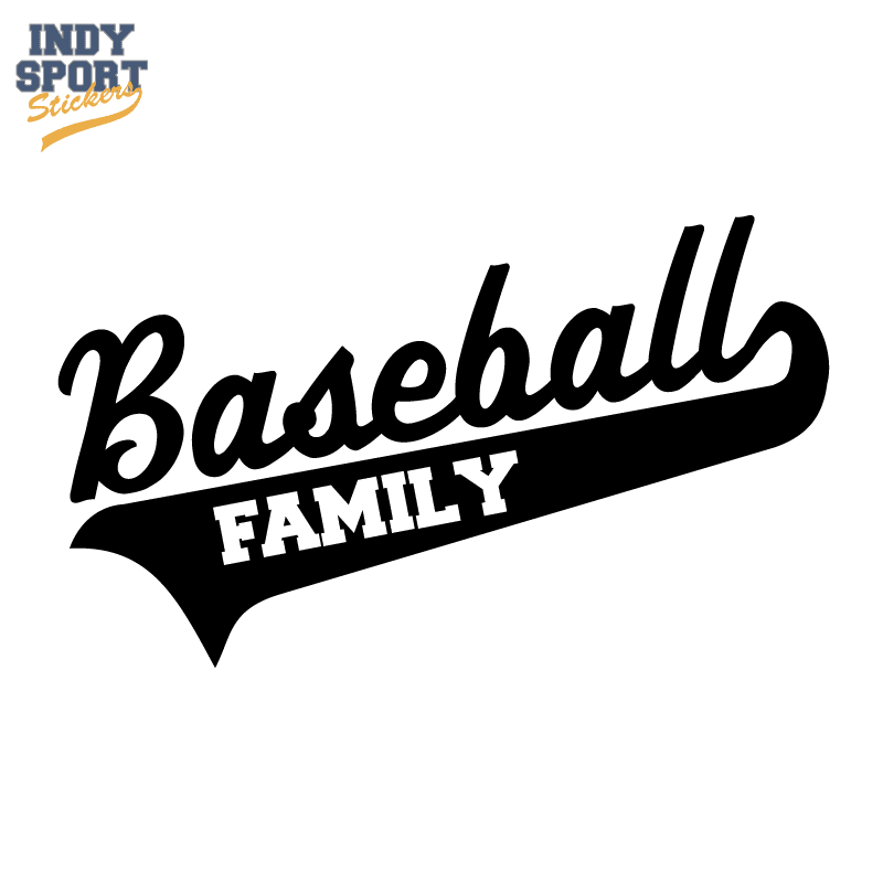 Baseball Script Text And Tail With Family Text Indy Sport Stickers