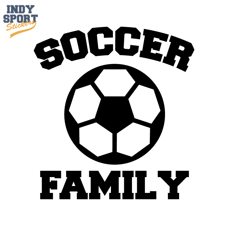 soccer ball silhouette with family text