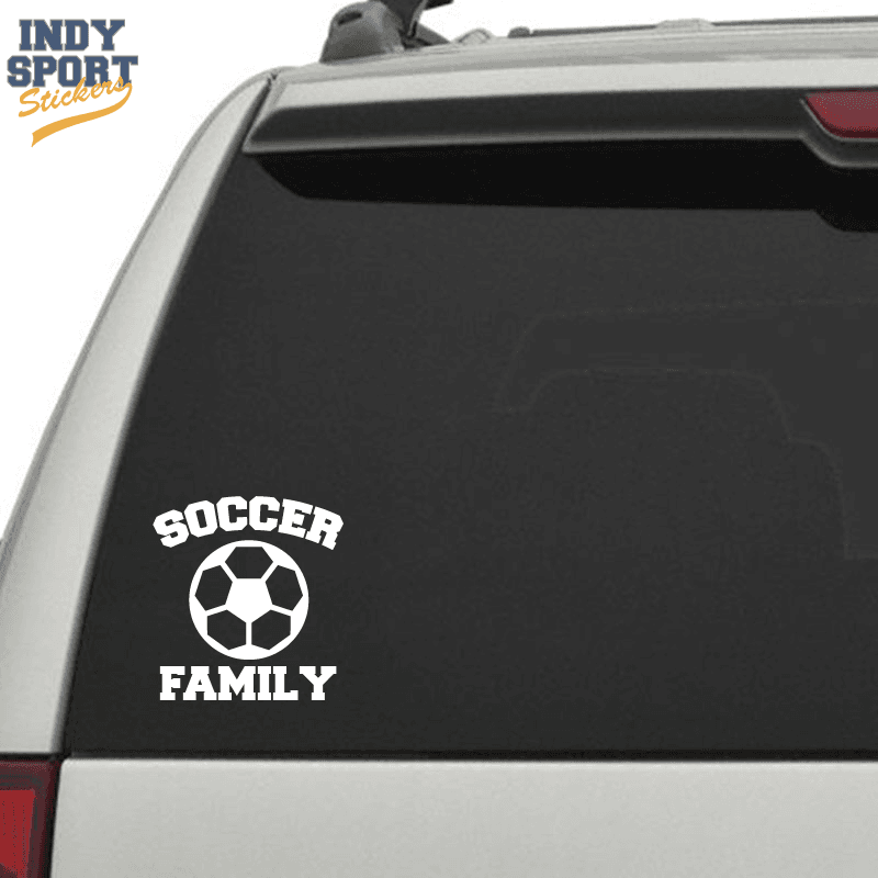 Soccer Ball Silhouette With Family Text Car Stickers And