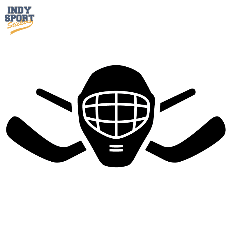Hockey Stick Crossed With Goalie Mask Silhouette 1 Indy Sport