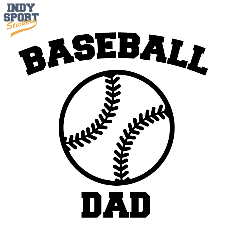 Baseball Dad Text With Silhouette Ball Car Stickers And