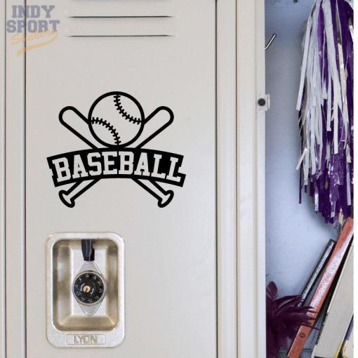 Baseball Bats & Ball with Text Decal Sticker for School Locker