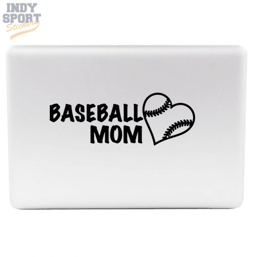 Baseball Mom with Heart Decal Sticker for Laptop