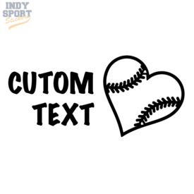 Baseball Mom with Heart Decal Sticker Choose Custom Text