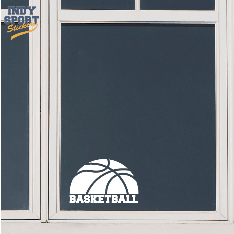 Half Basketball Silhouette With Text Below Car Stickers