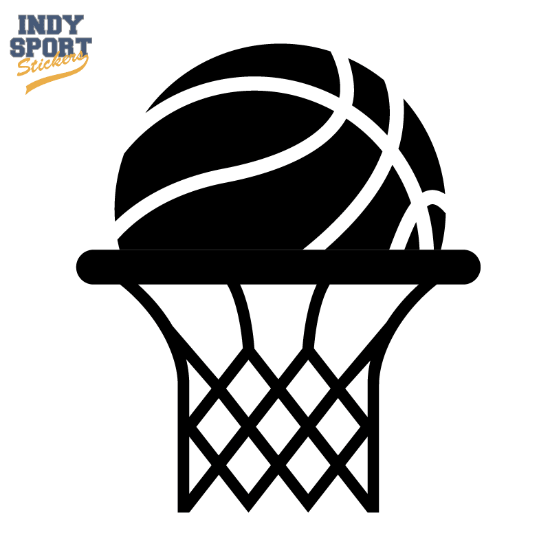 Basketball Silhouette With Rim And Net Car Stickers