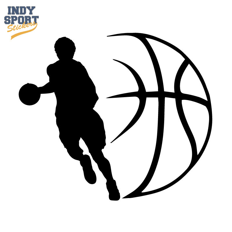 Basketball Player Silhouette With Ball Design Decal Car