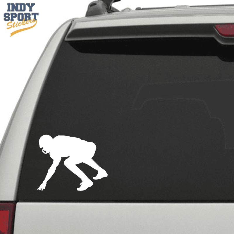 Football Player In Formation Silhouette Car Stickers And