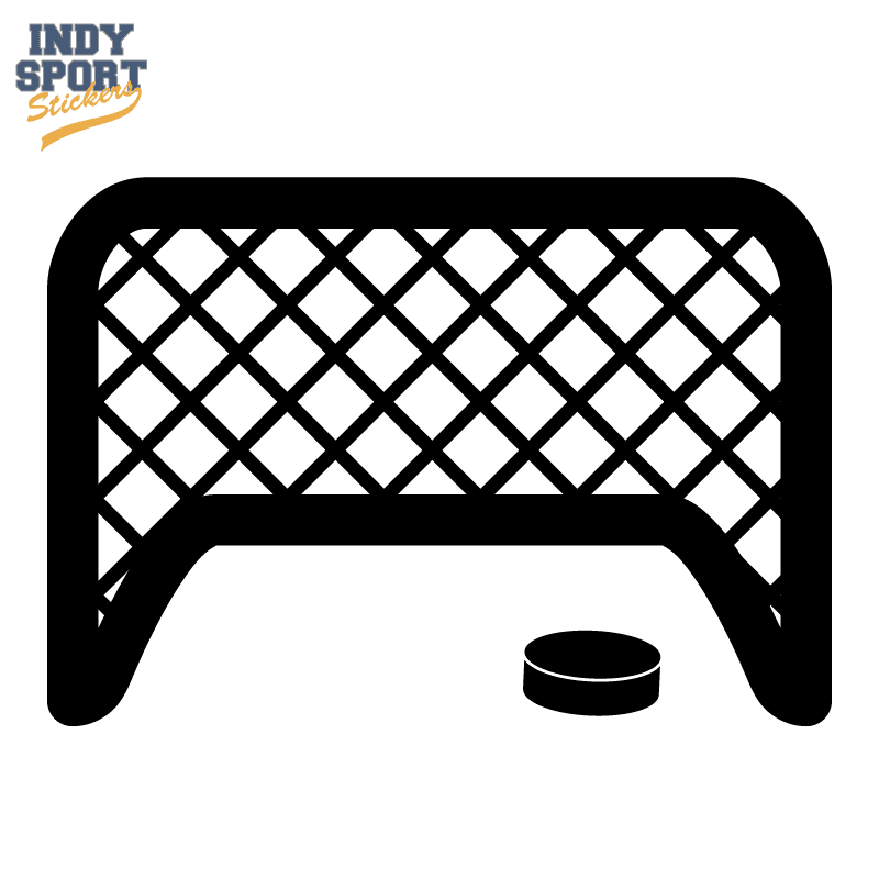 Hockey Puck And Goal Silhouette Car Stickers And Decals