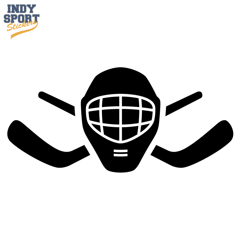 Hockey Stick Crossed With Goalie Mask Silhouette Car Stickers And