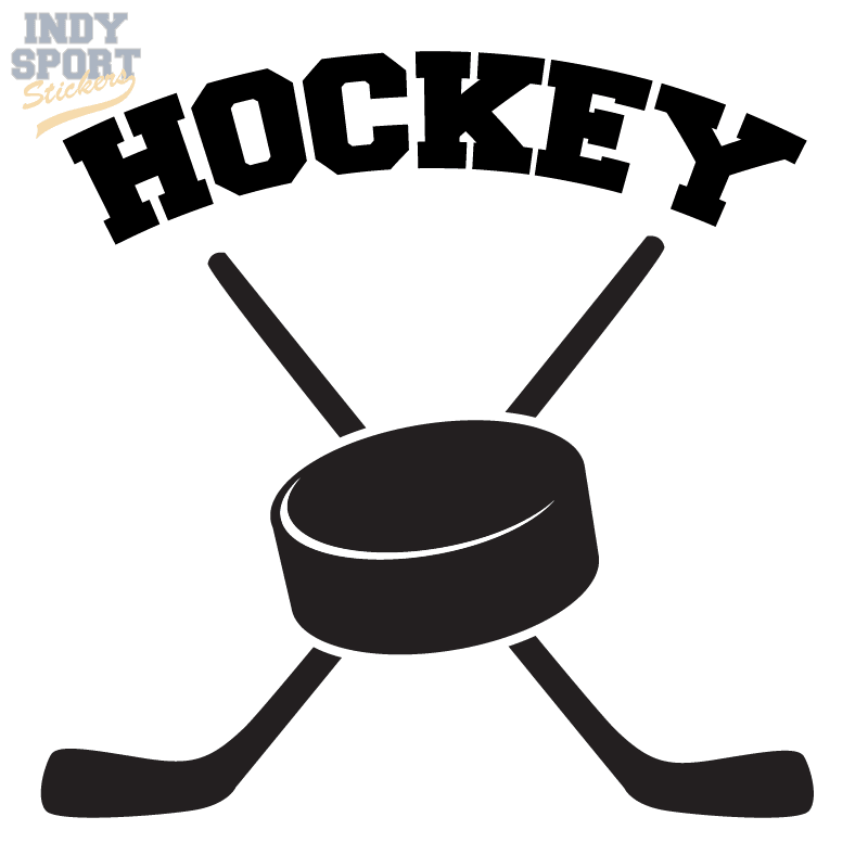 2a3d43c3e368 Hockey Puck with Crossed Sticks and Hockey Text - Car Stickers and ...