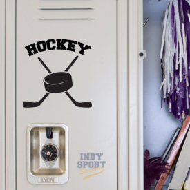 Hockey Puck with Crossed Sticks Decal or Sticker for School Locker