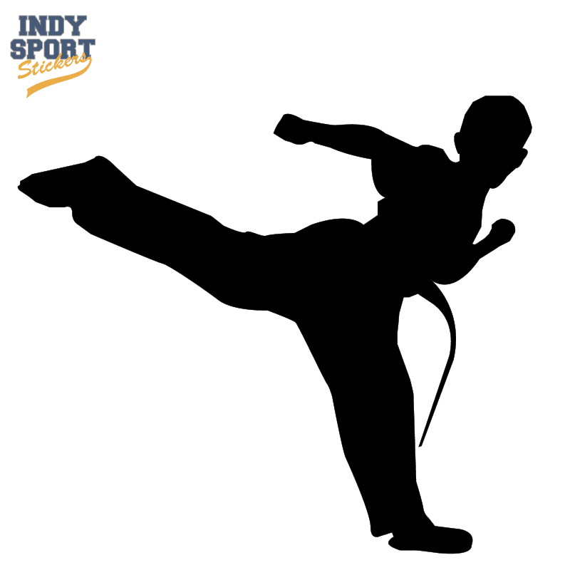 martial arts karate male boy kicking silhouette car stickers and