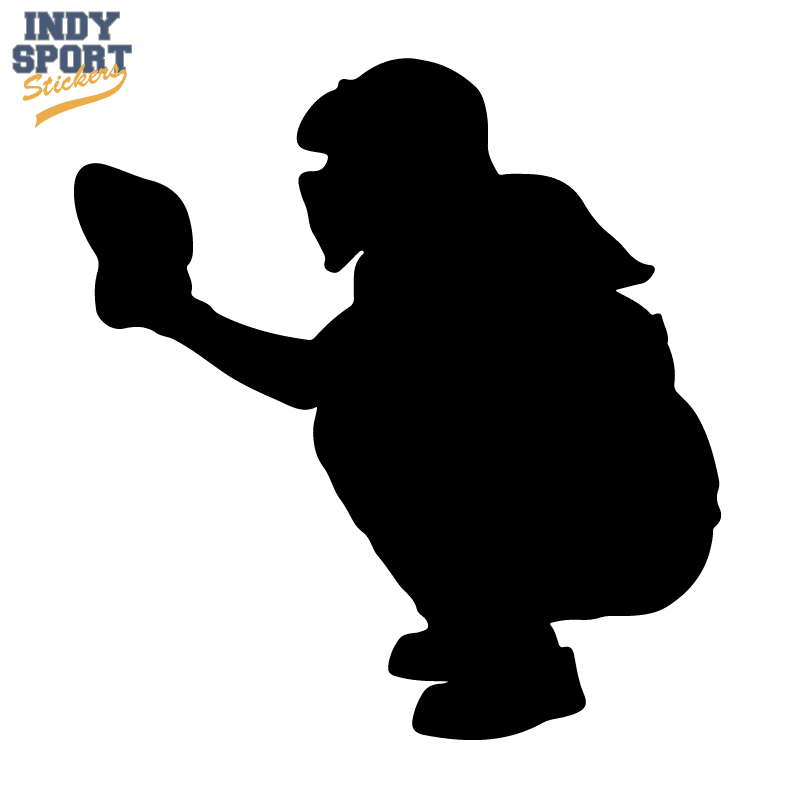 Softball Catcher Silhouette - Car Stickers and Decals