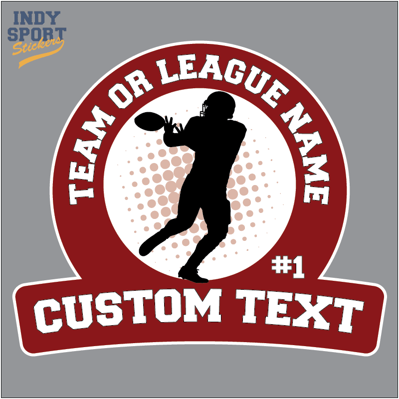 Full Color Sticker With Football Player Catching Ball Silhouette And Custom Text