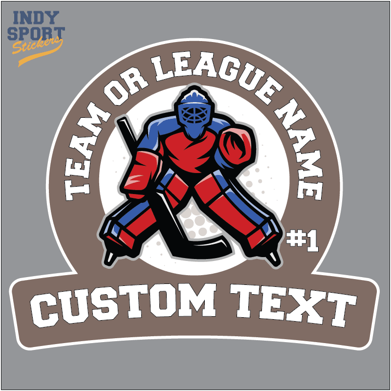 Full Color Sticker With Hockey Goalie And Custom Text Car Stickers