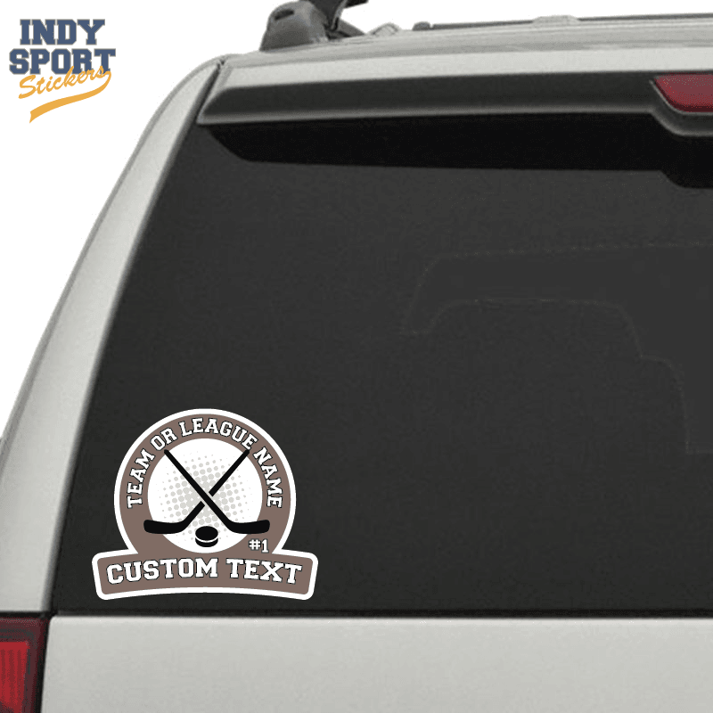HOCKEY Stick /& Puck x2 Personalized with your Number Vinyl decal Car Window